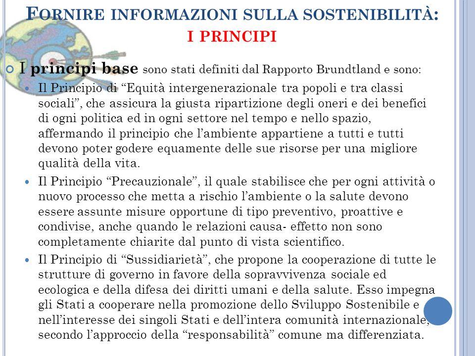 Fornire informazioni sulla sostenibilità: i principi