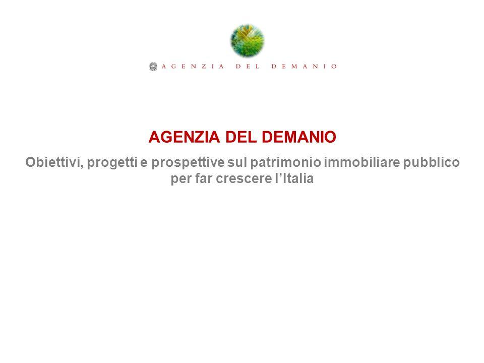 AGENZIA DEL DEMANIO Obiettivi, progetti e prospettive sul patrimonio immobiliare pubblico per far crescere l'Italia.