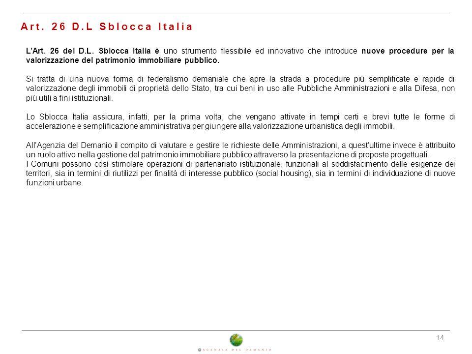 Art. 26 D.L Sblocca Italia 25/02/2014