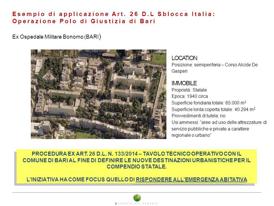 Esempio di applicazione Art. 26 D.L Sblocca Italia: