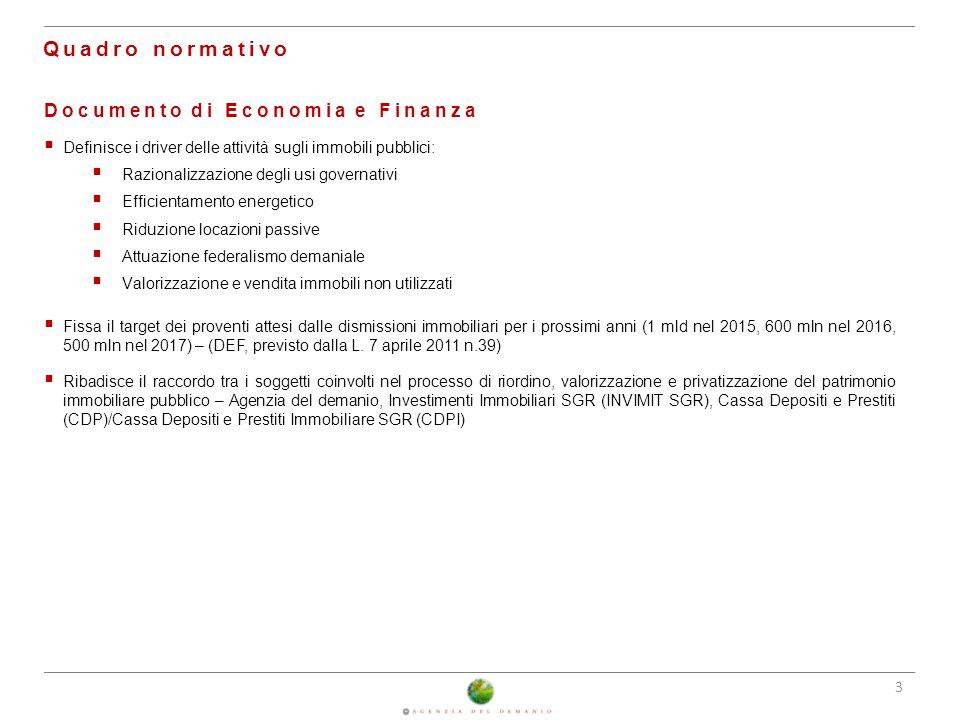 Quadro normativo Documento di Economia e Finanza 25/02/2014