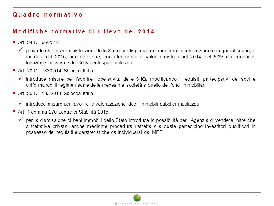 Quadro normativo Modifiche normative di rilievo del 2014