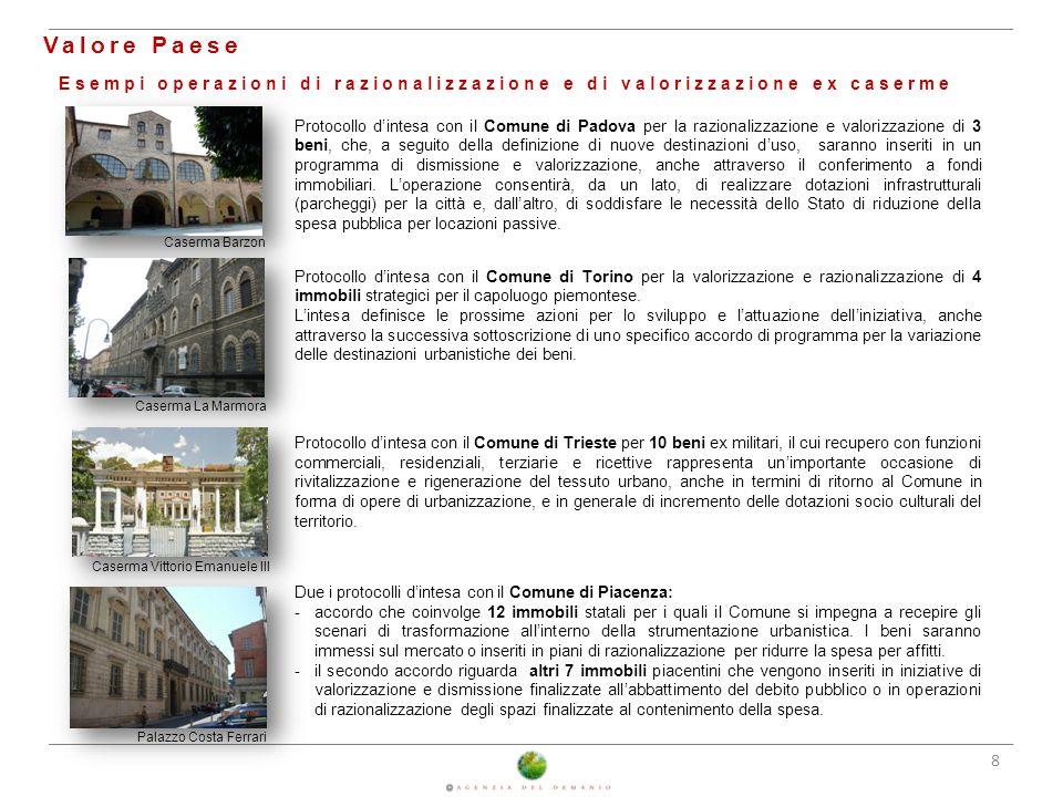 25/02/2014 Valore Paese. Esempi operazioni di razionalizzazione e di valorizzazione ex caserme.