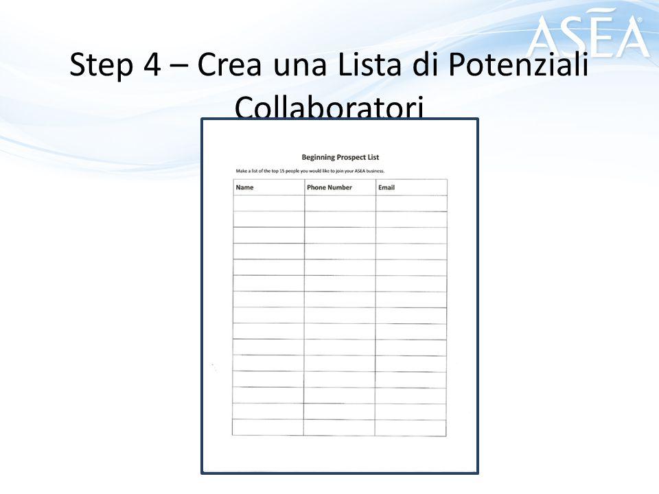 Step 4 – Crea una Lista di Potenziali Collaboratori