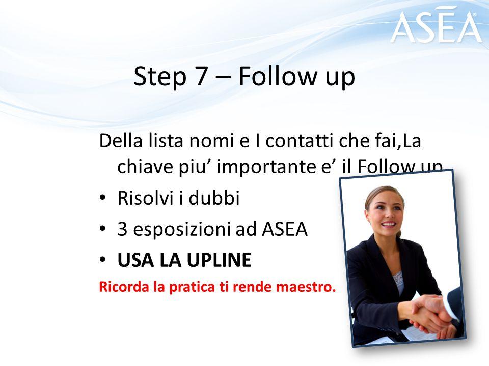 Step 7 – Follow up Della lista nomi e I contatti che fai,La chiave piu' importante e' il Follow up.