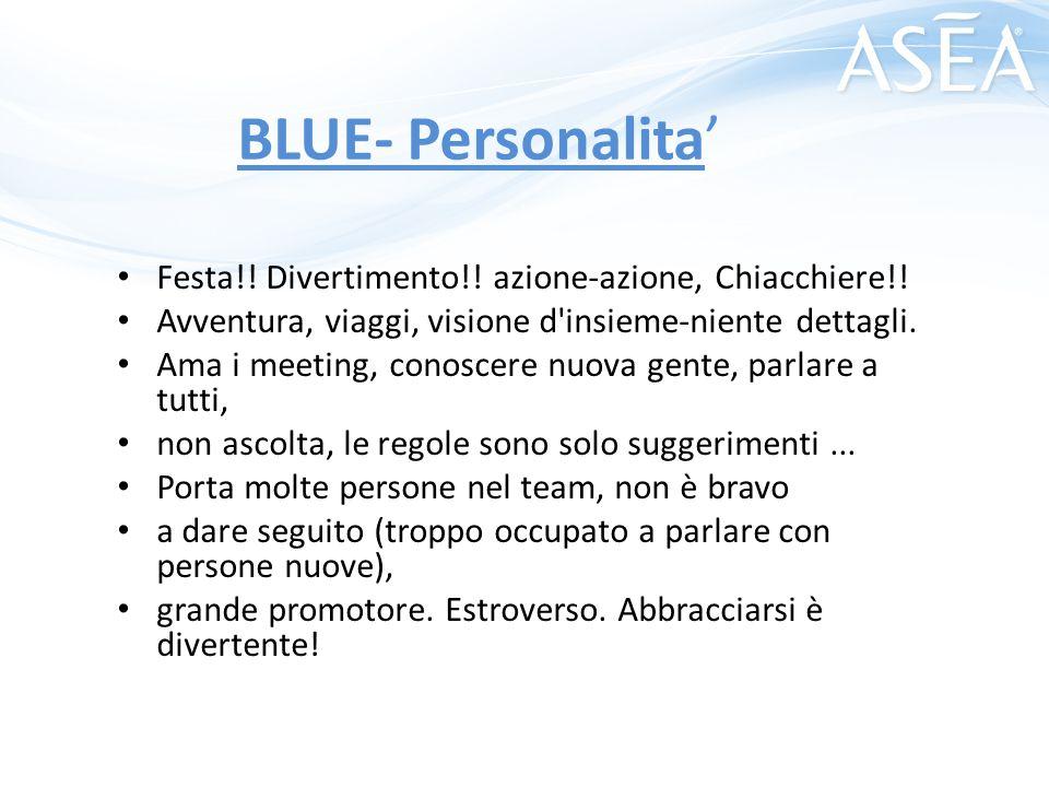 BLUE- Personalita' Festa!! Divertimento!! azione-azione, Chiacchiere!!
