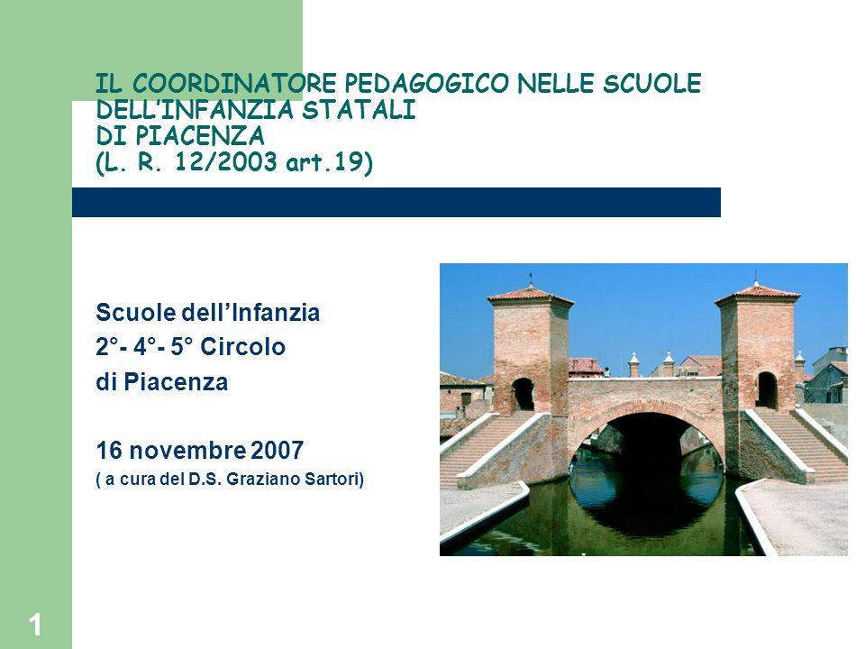 IL COORDINATORE PEDAGOGICO NELLE SCUOLE DELL'INFANZIA STATALI DI PIACENZA (L. R. 12/2003 art.19)