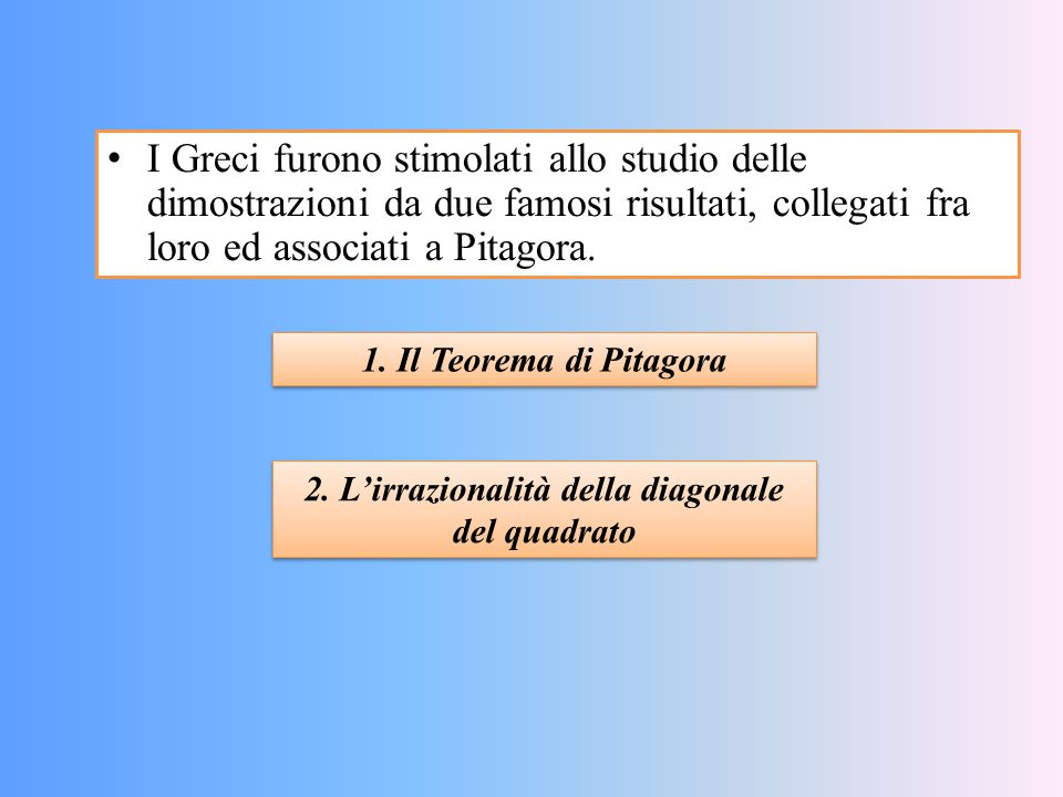 2. L'irrazionalità della diagonale del quadrato