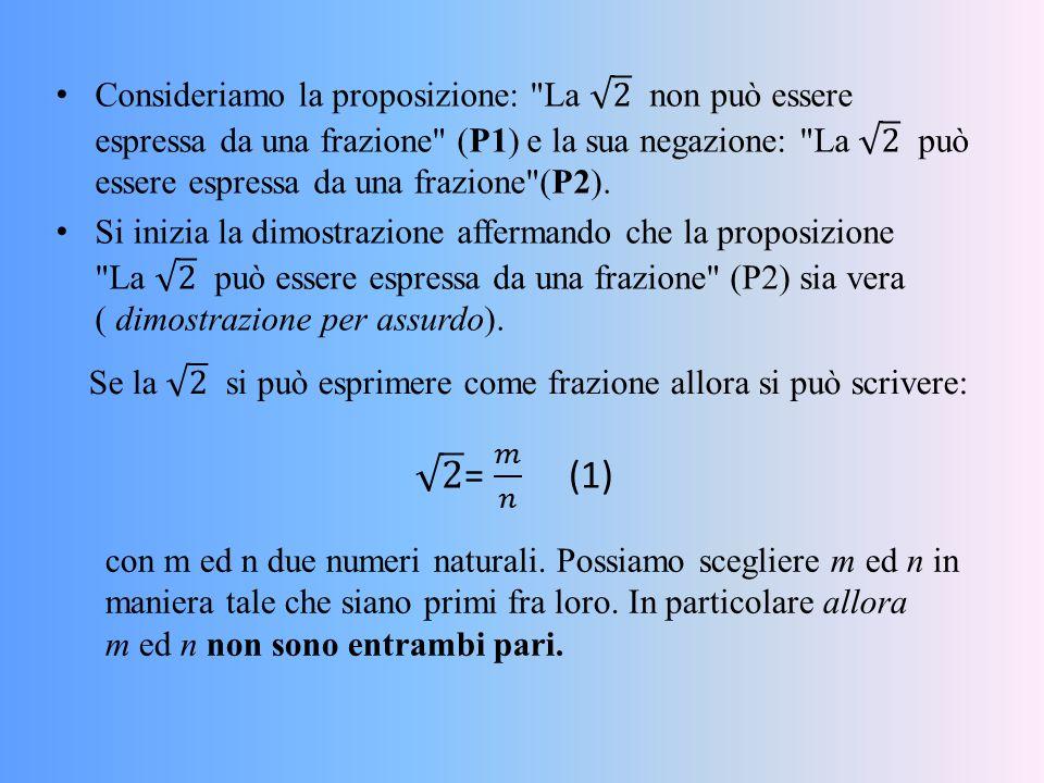 Consideriamo la proposizione: La 2 non può essere espressa da una frazione (P1) e la sua negazione: La 2 può essere espressa da una frazione (P2).
