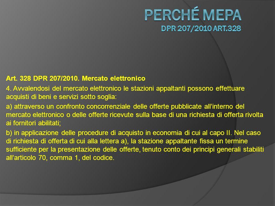 Art. 328 DPR 207/2010. Mercato elettronico