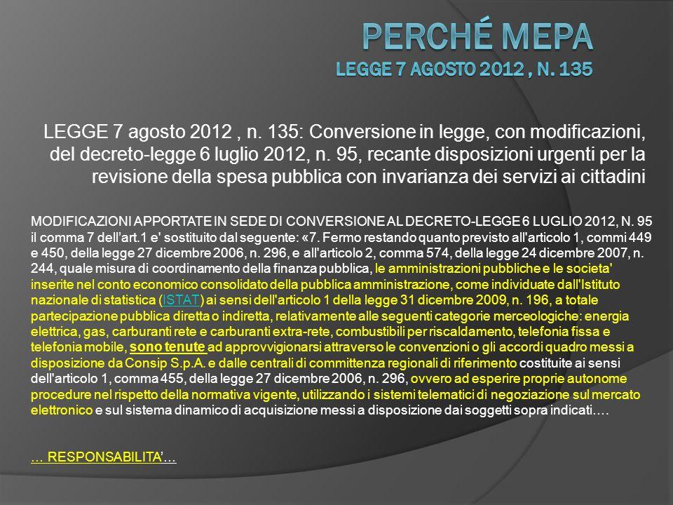 perché Mepa LEGGE 7 agosto 2012 , n. 135