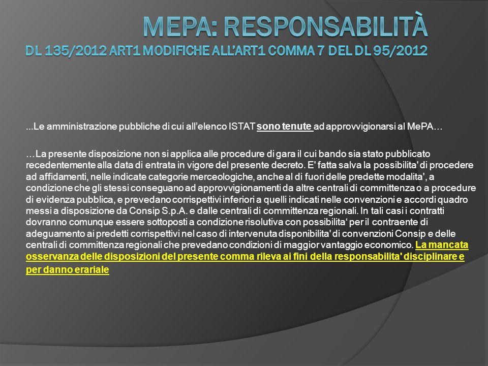 Mepa: responsabilità DL 135/2012 art1 modifiche all'art1 comma 7 del DL 95/2012