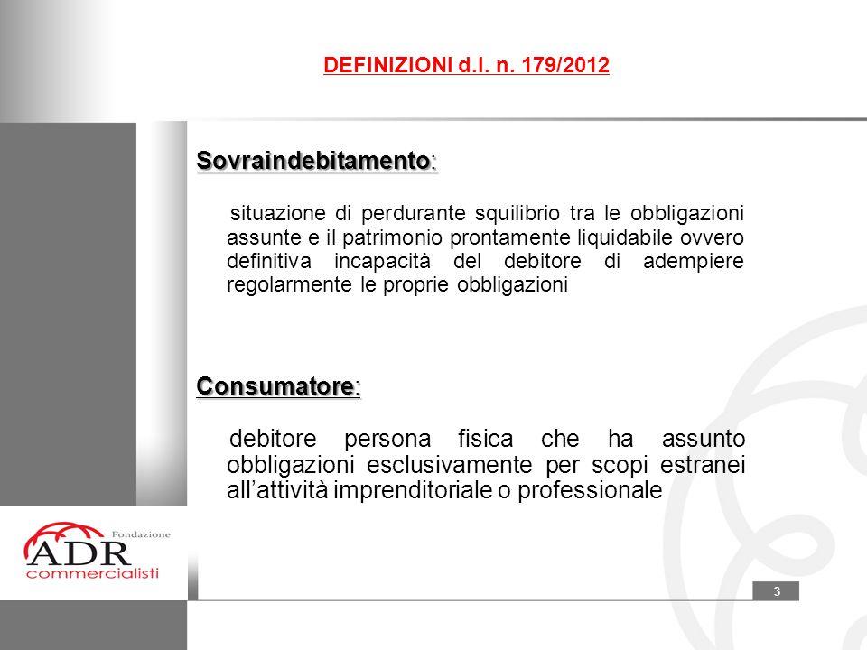 DEFINIZIONI d.l. n. 179/2012 Sovraindebitamento: