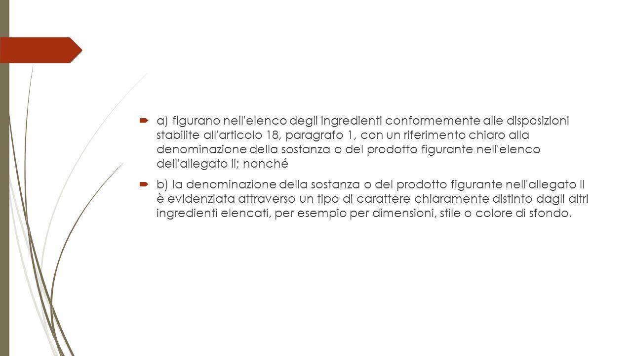 a) figurano nell elenco degli ingredienti conformemente alle disposizioni stabilite all articolo 18, paragrafo 1, con un riferimento chiaro alla denominazione della sostanza o del prodotto figurante nell elenco dell allegato II; nonché