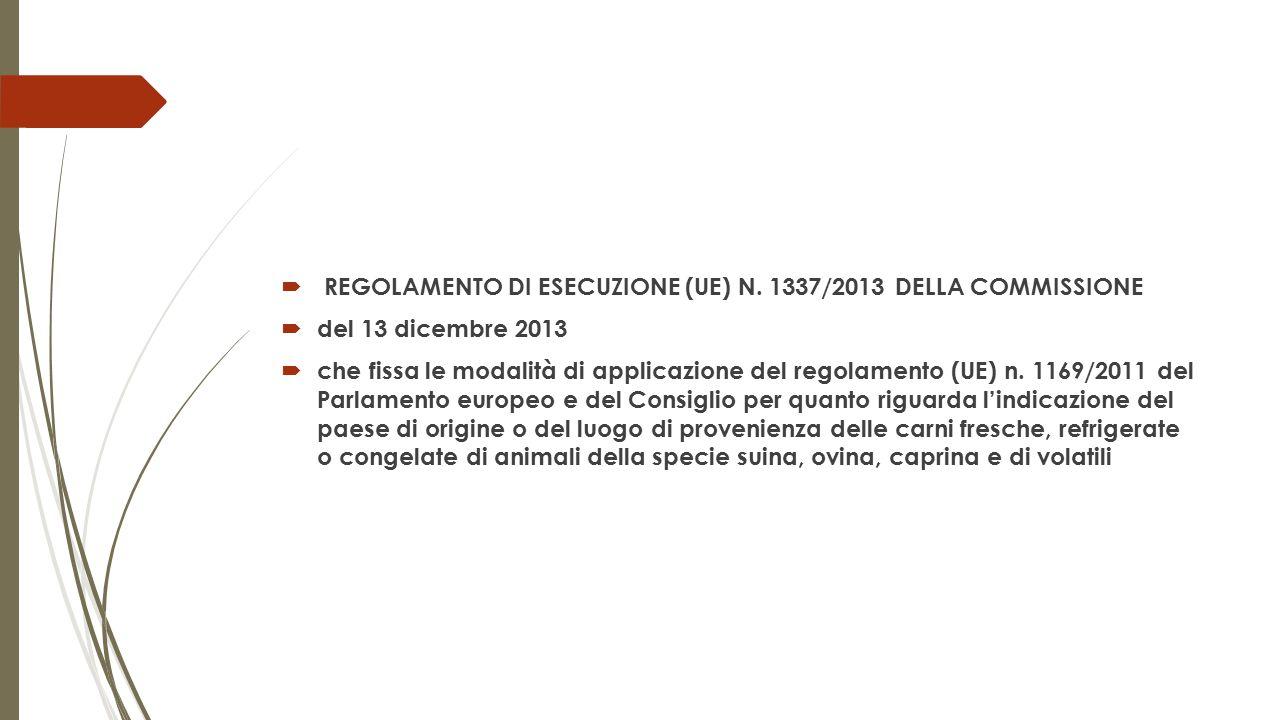 REGOLAMENTO DI ESECUZIONE (UE) N. 1337/2013 DELLA COMMISSIONE