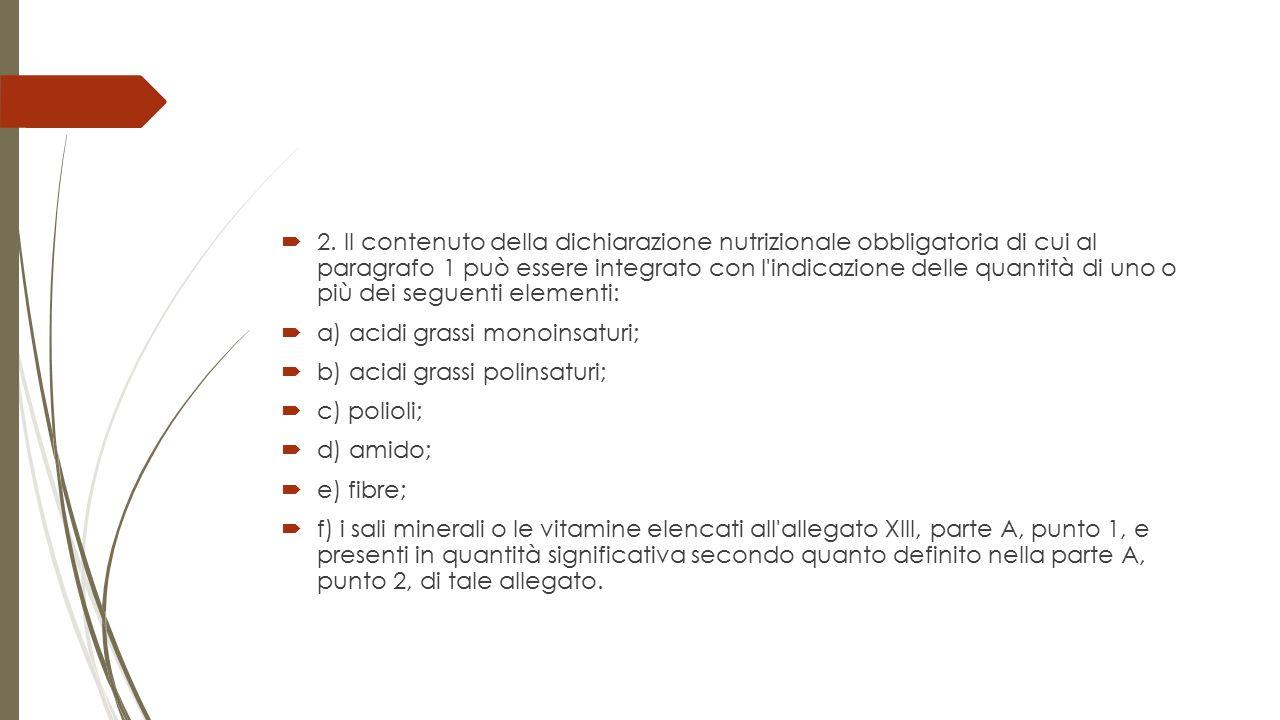 2. Il contenuto della dichiarazione nutrizionale obbligatoria di cui al paragrafo 1 può essere integrato con l indicazione delle quantità di uno o più dei seguenti elementi: