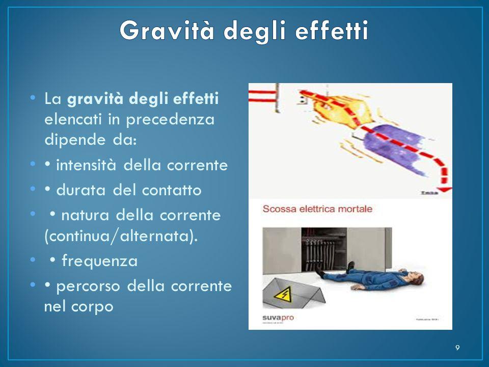 Gravità degli effetti La gravità degli effetti elencati in precedenza dipende da: • intensità della corrente.