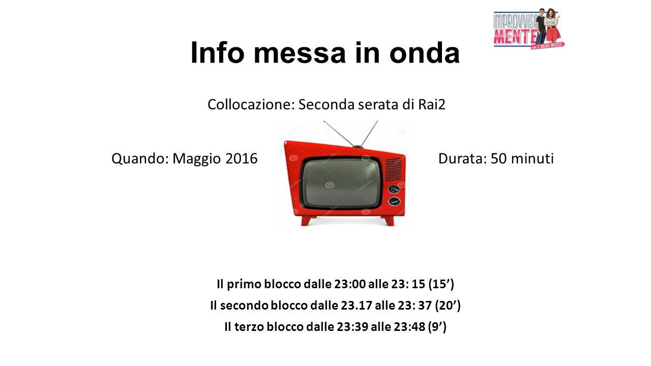 Info messa in onda Collocazione: Seconda serata di Rai2