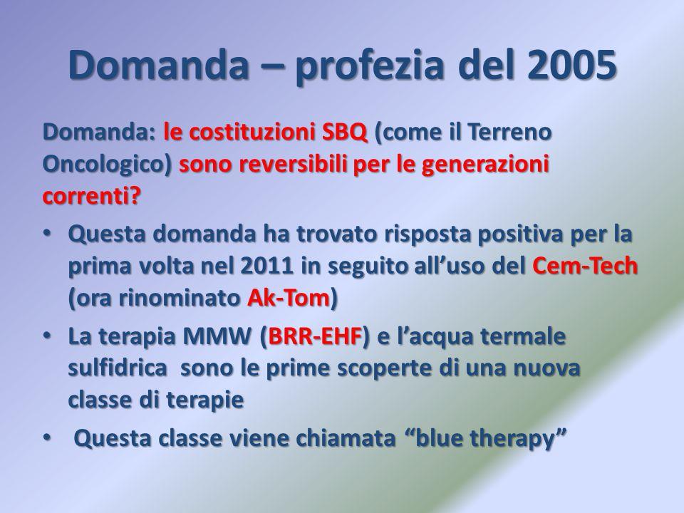 Domanda – profezia del 2005 Domanda: le costituzioni SBQ (come il Terreno Oncologico) sono reversibili per le generazioni correnti
