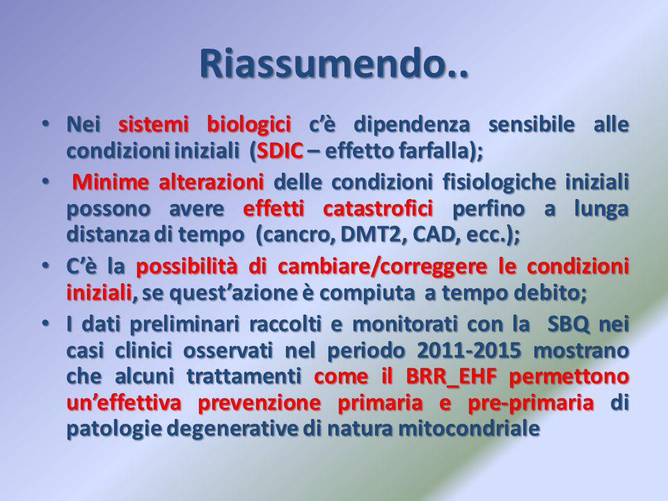Riassumendo.. Nei sistemi biologici c'è dipendenza sensibile alle condizioni iniziali (SDIC – effetto farfalla);