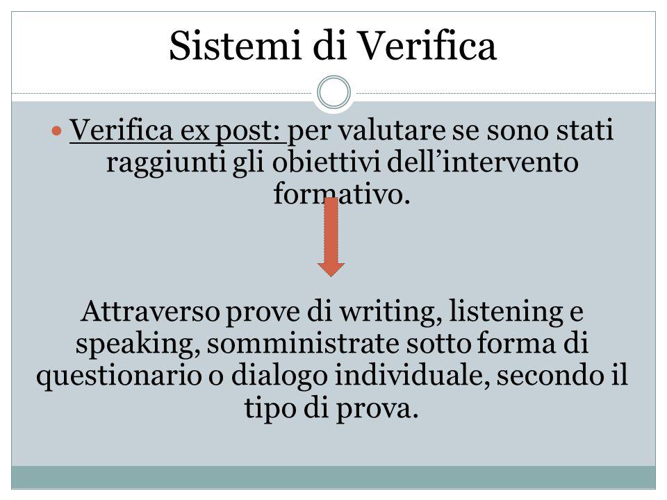 Sistemi di Verifica Verifica ex post: per valutare se sono stati raggiunti gli obiettivi dell'intervento formativo.