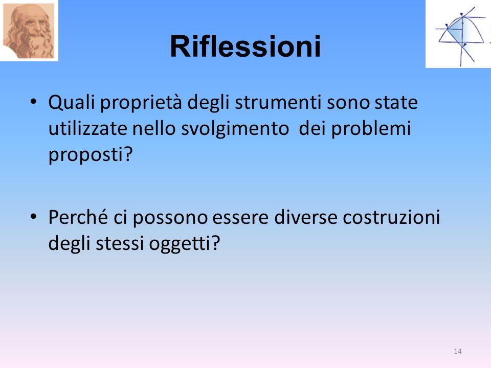 Riflessioni Quali proprietà degli strumenti sono state utilizzate nello svolgimento dei problemi proposti