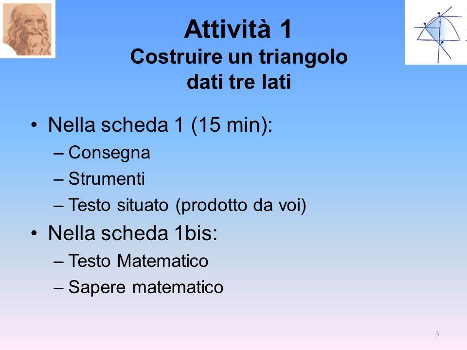 Attività 1 Costruire un triangolo dati tre lati