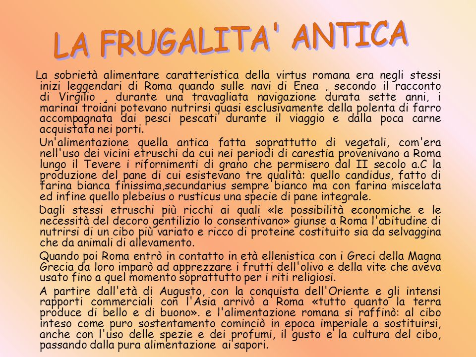 LA FRUGALITA ANTICA