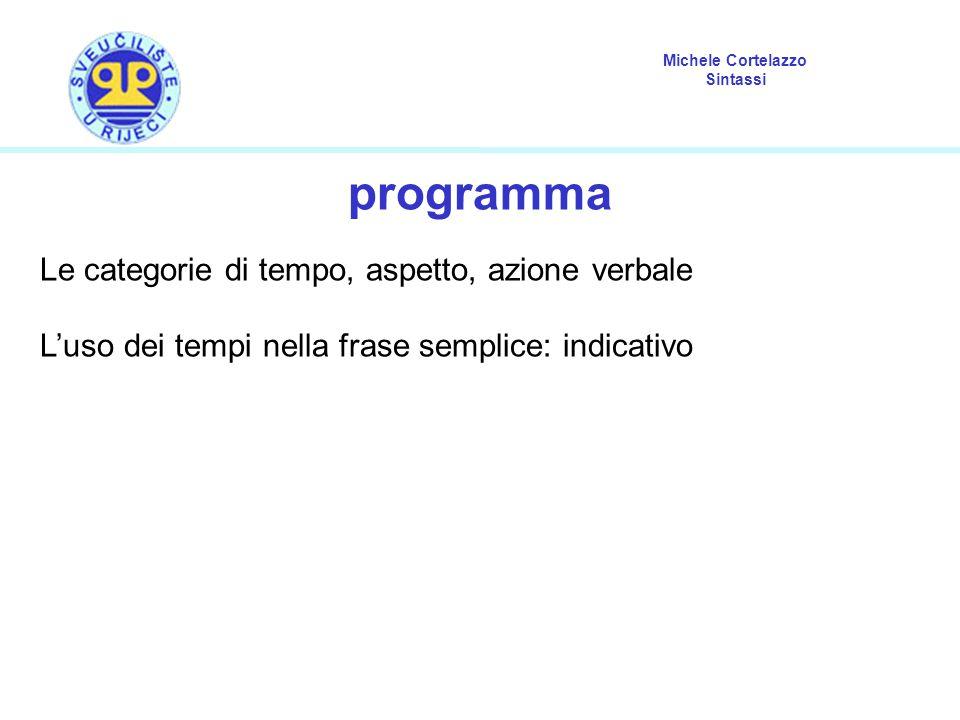 programma Le categorie di tempo, aspetto, azione verbale