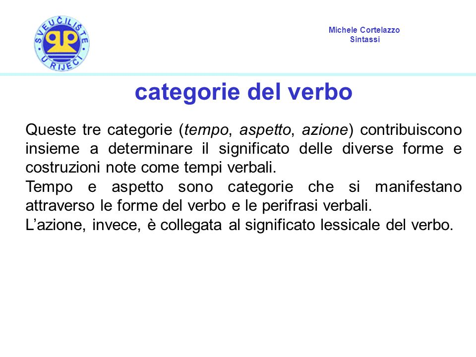 categorie del verbo