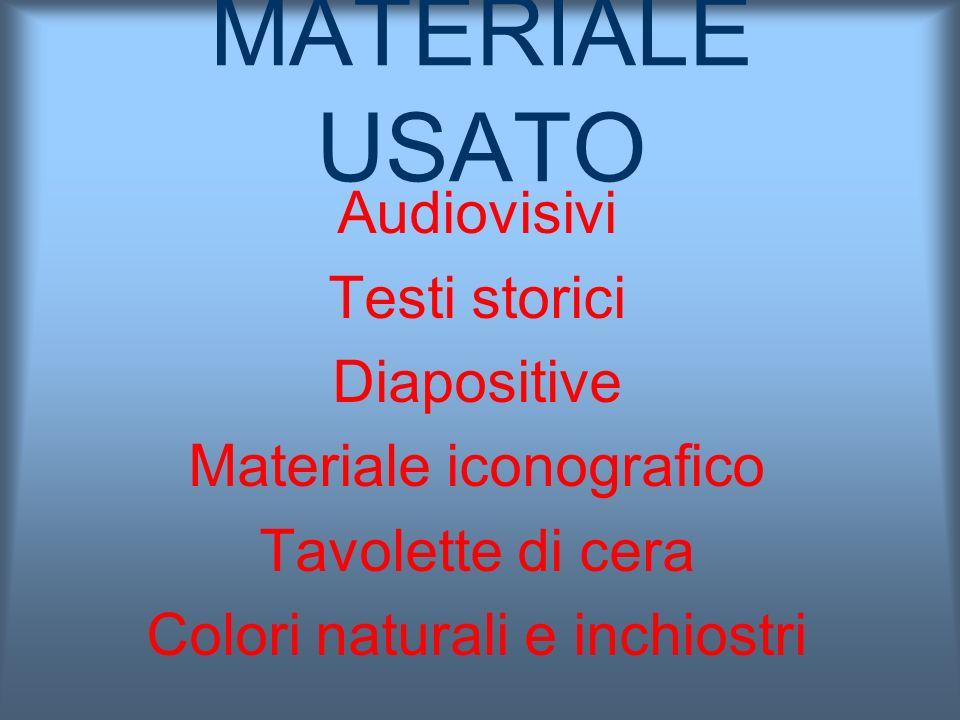 MATERIALE USATO Audiovisivi Testi storici Diapositive
