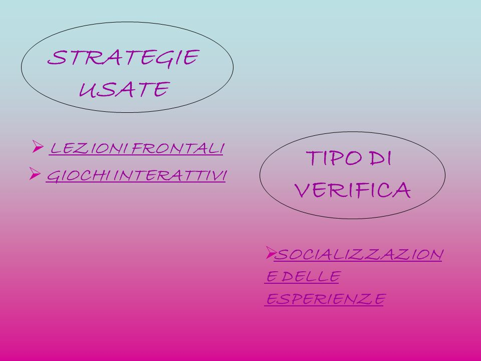 STRATEGIE USATE TIPO DI VERIFICA