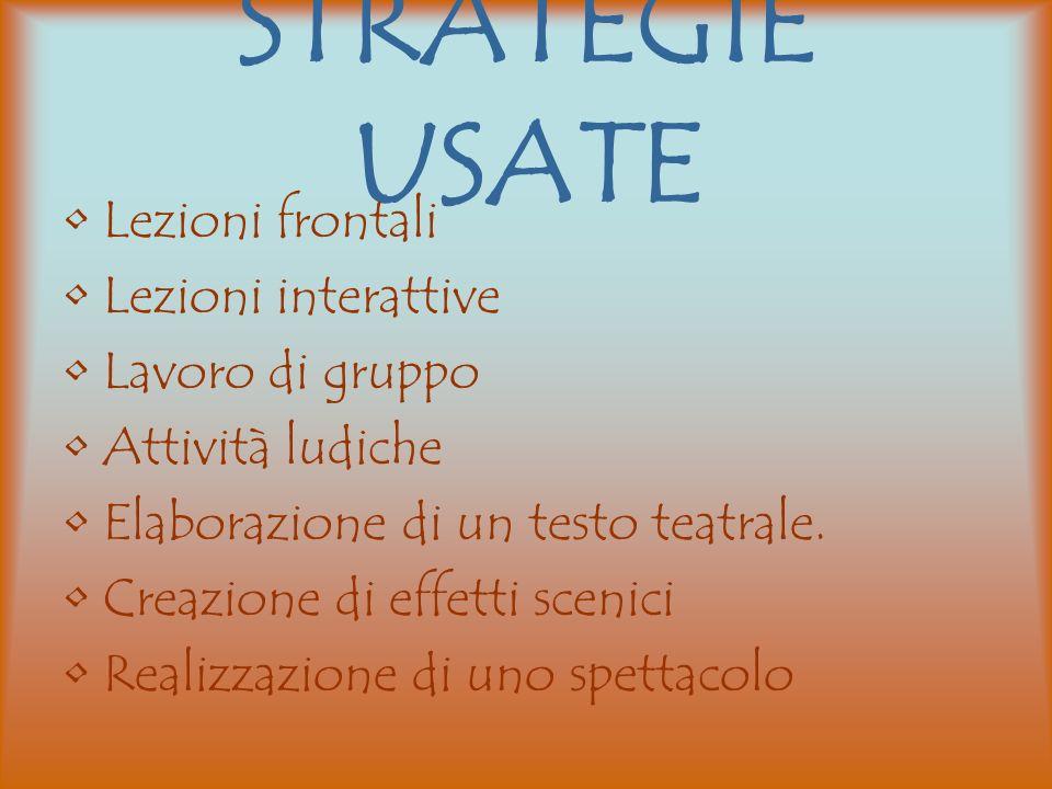 STRATEGIE USATE Lezioni frontali Lezioni interattive Lavoro di gruppo