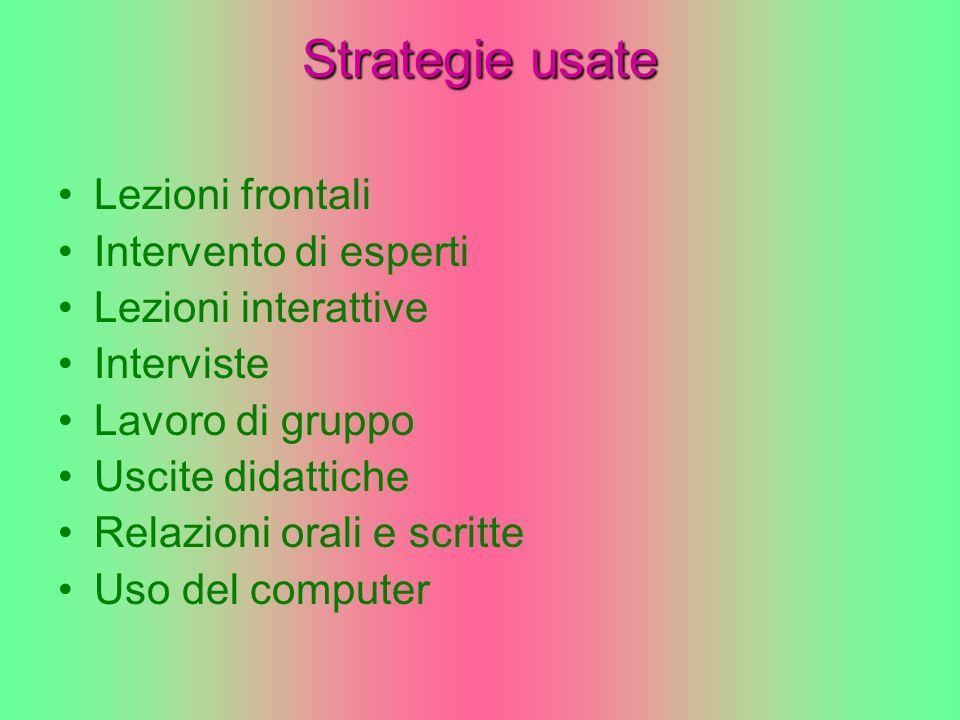Strategie usate Lezioni frontali Intervento di esperti