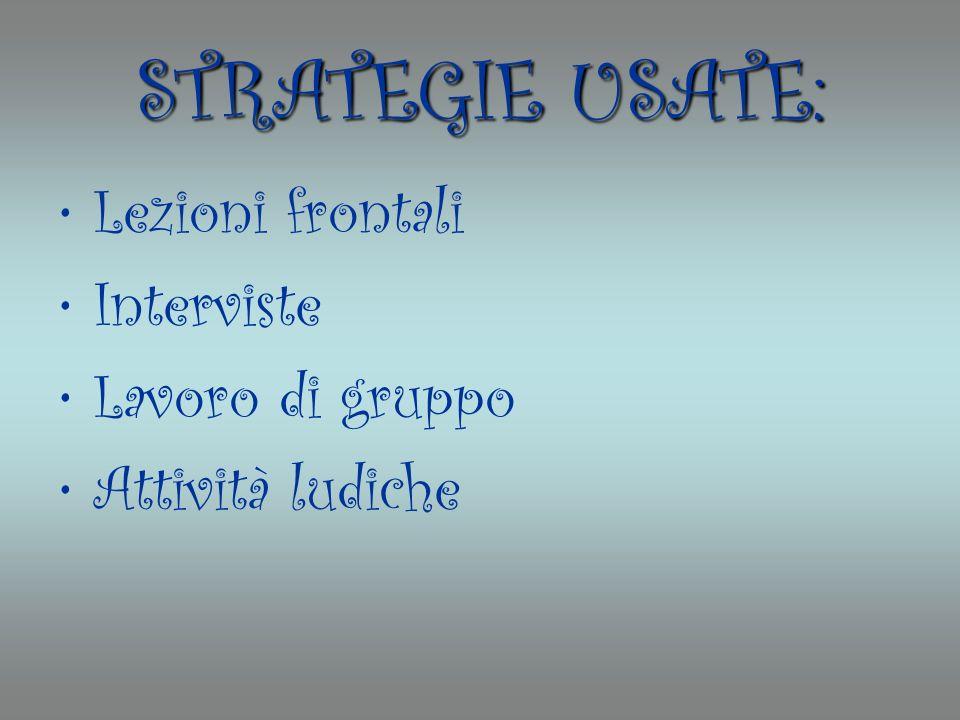 STRATEGIE USATE: Lezioni frontali Interviste Lavoro di gruppo