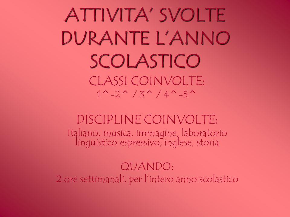 ATTIVITA' SVOLTE DURANTE L'ANNO SCOLASTICO