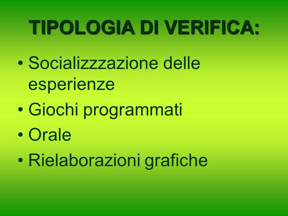 TIPOLOGIA DI VERIFICA: