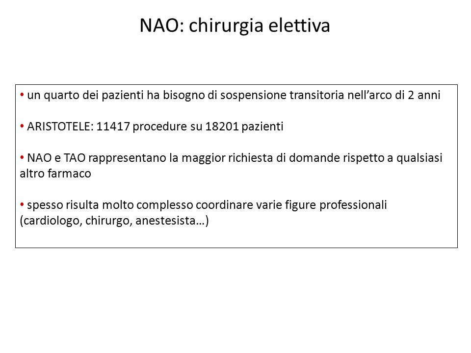 NAO: chirurgia elettiva