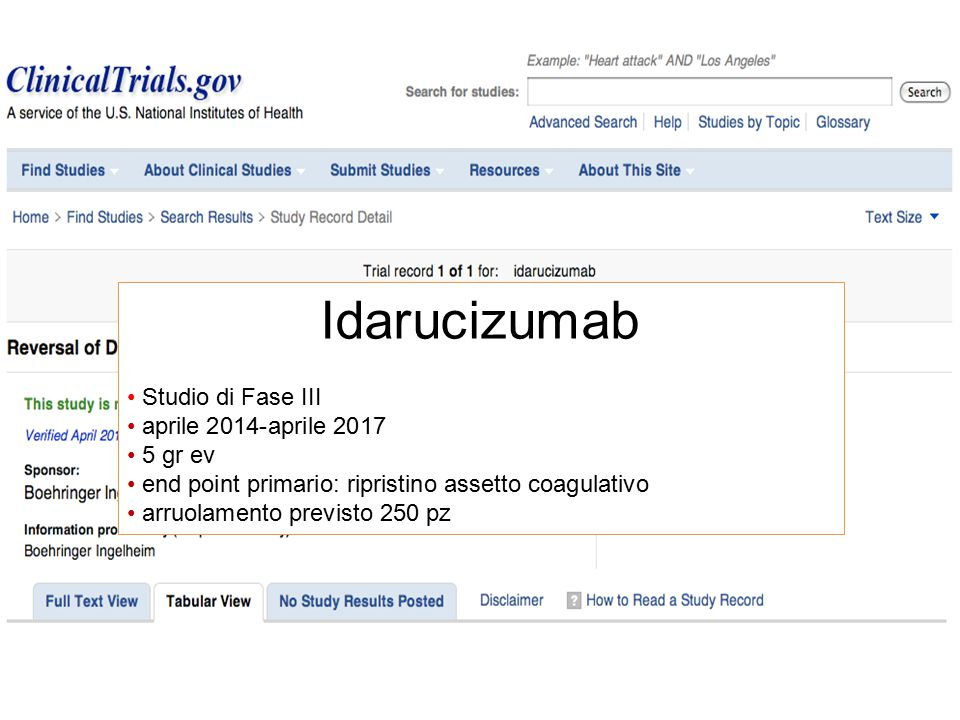 Idarucizumab Studio di Fase III aprile 2014-aprile 2017 5 gr ev
