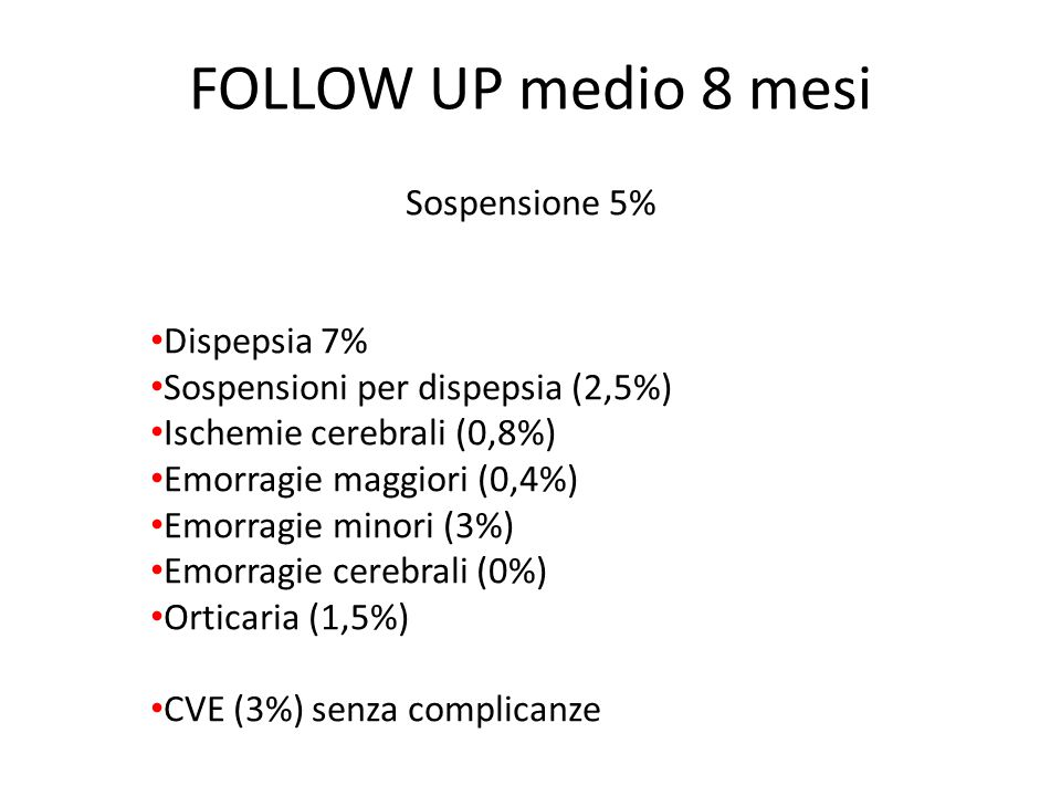 FOLLOW UP medio 8 mesi Sospensione 5% Dispepsia 7%