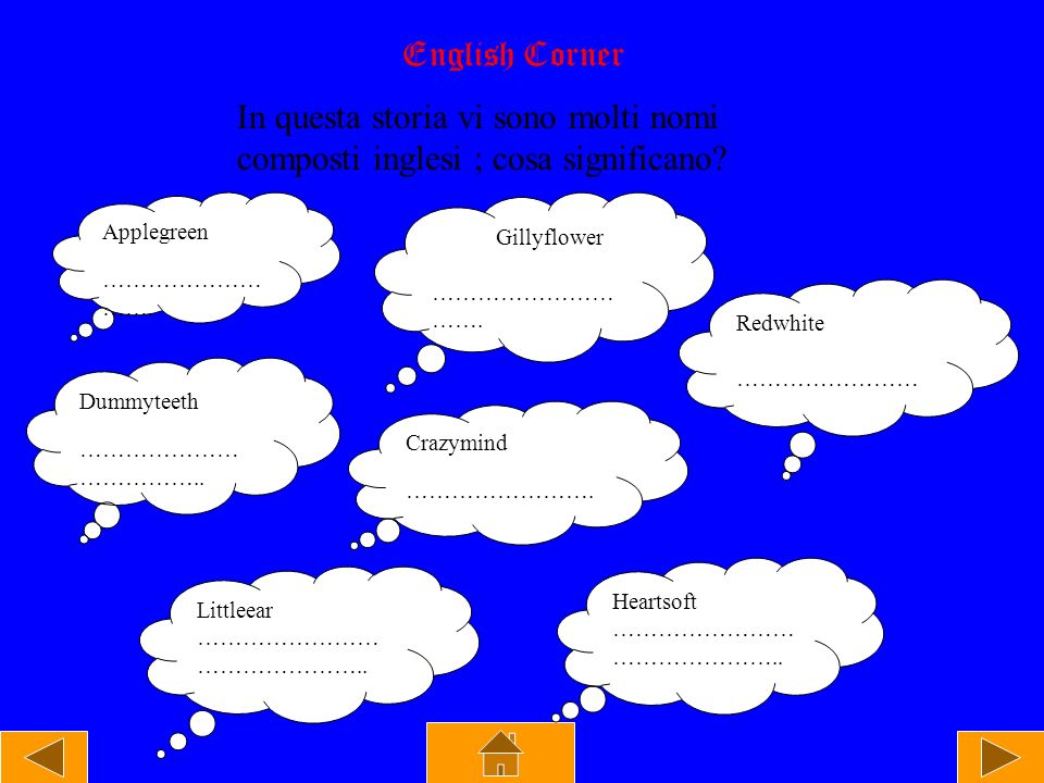 English Corner In questa storia vi sono molti nomi composti inglesi ; cosa significano Applegreen.