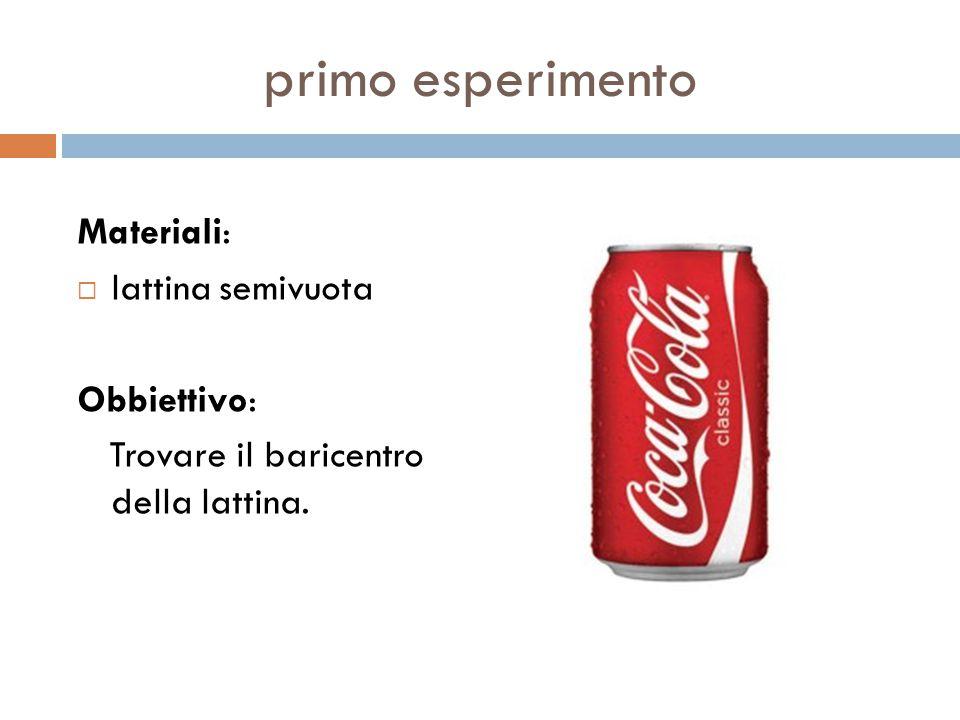 primo esperimento Materiali: lattina semivuota Obbiettivo: