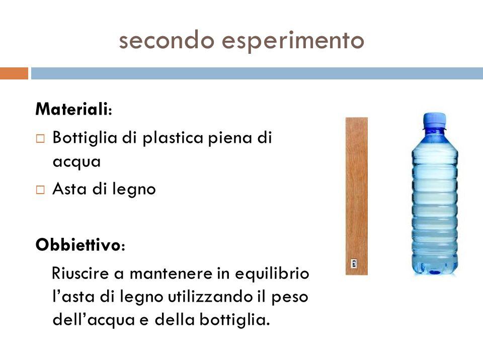 secondo esperimento Materiali: Bottiglia di plastica piena di acqua