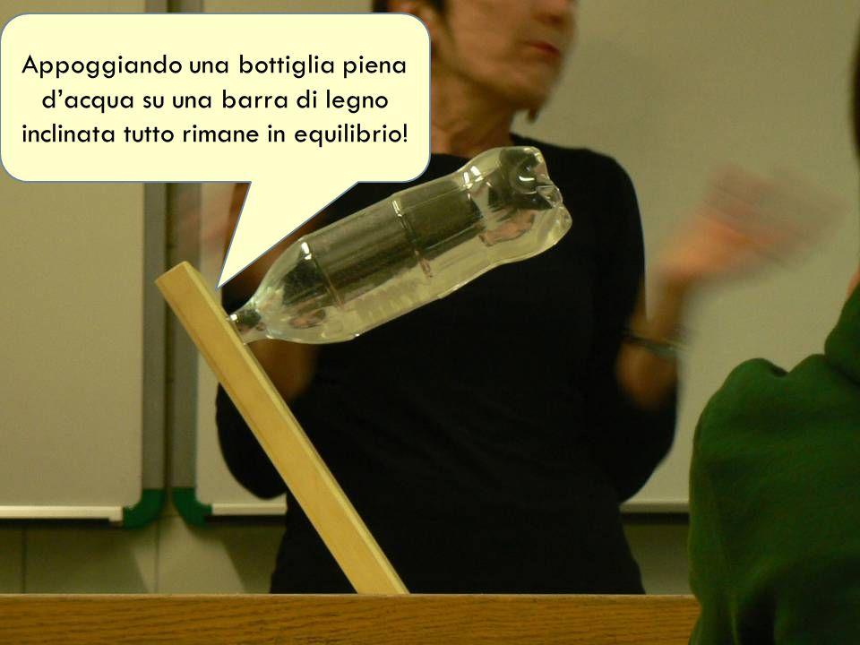 Appoggiando una bottiglia piena d'acqua su una barra di legno inclinata tutto rimane in equilibrio!