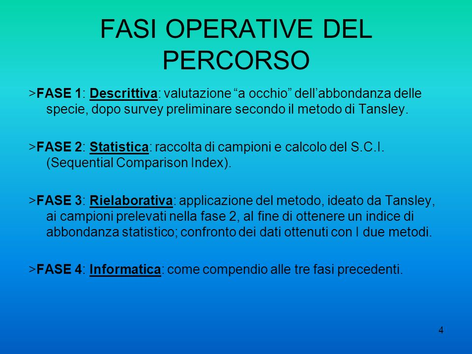 FASI OPERATIVE DEL PERCORSO