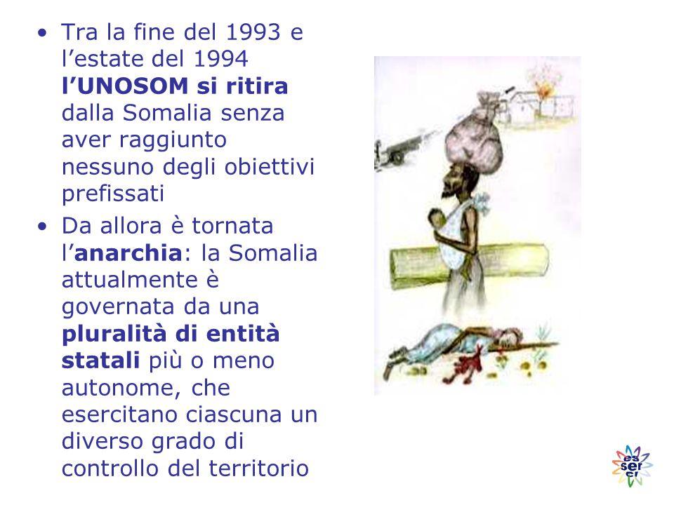 Tra la fine del 1993 e l'estate del 1994 l'UNOSOM si ritira dalla Somalia senza aver raggiunto nessuno degli obiettivi prefissati