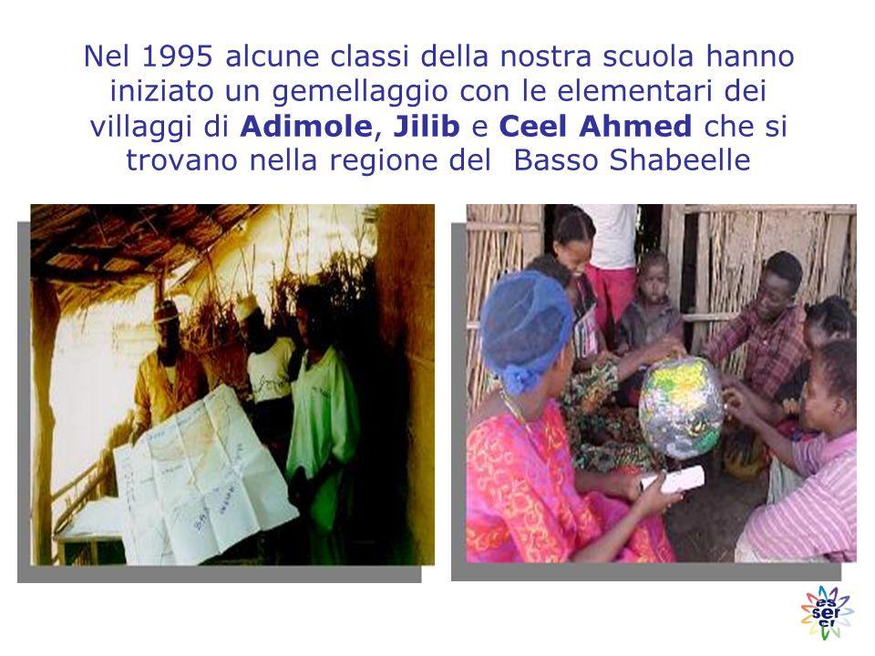 Nel 1995 alcune classi della nostra scuola hanno iniziato un gemellaggio con le elementari dei villaggi di Adimole, Jilib e Ceel Ahmed che si trovano nella regione del Basso Shabeelle