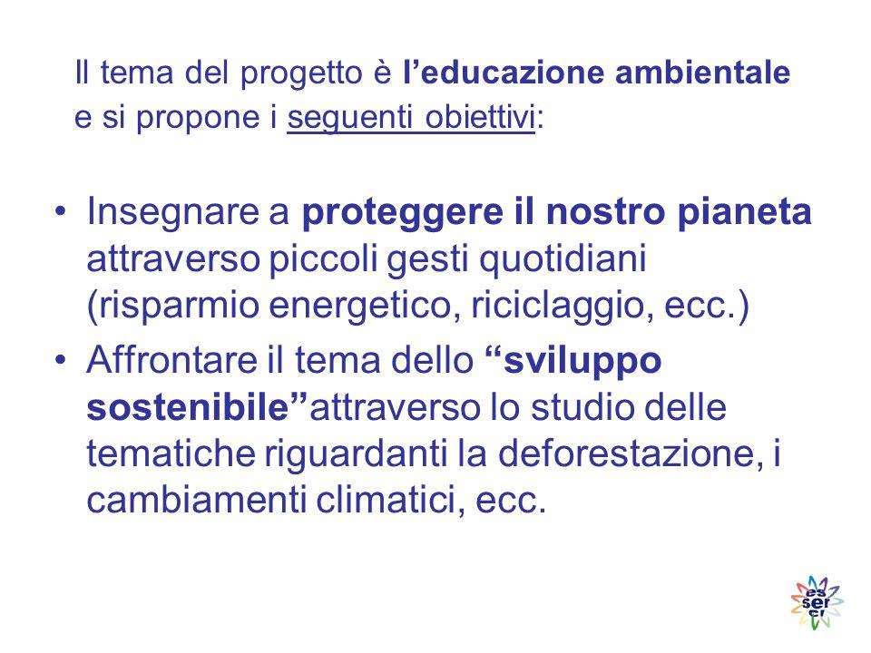 Il tema del progetto è l'educazione ambientale