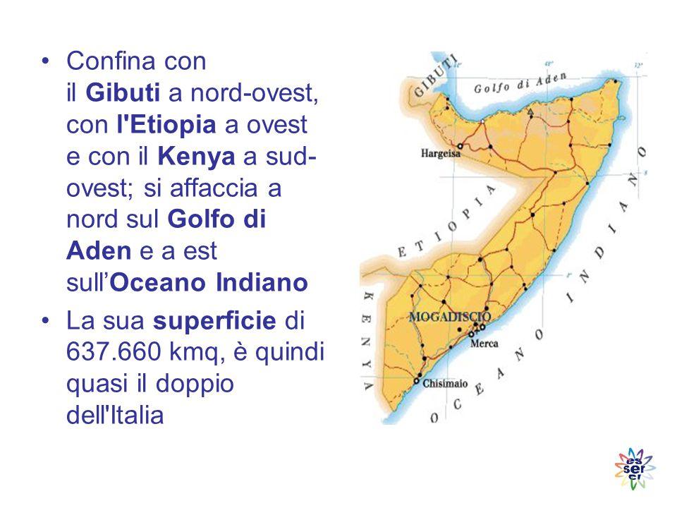 Confina con il Gibuti a nord-ovest, con l Etiopia a ovest e con il Kenya a sud-ovest; si affaccia a nord sul Golfo di Aden e a est sull'Oceano Indiano