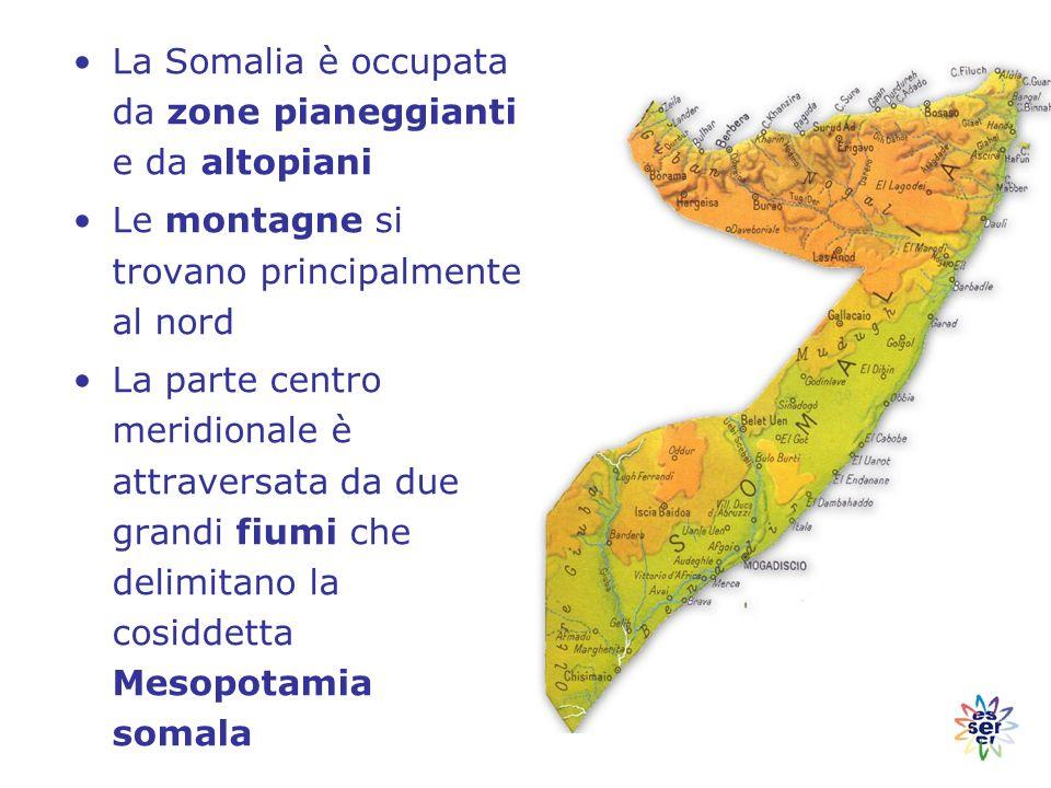 La Somalia è occupata da zone pianeggianti e da altopiani